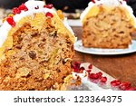 Christmas cake slices with cream and red berries - stock photo