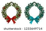 christmas  new year. green... | Shutterstock .eps vector #1233649714