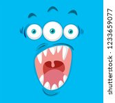 three eyed monster face... | Shutterstock .eps vector #1233659077