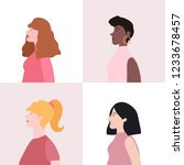 collection of women in profile... | Shutterstock .eps vector #1233678457