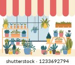 flower shop interior with... | Shutterstock .eps vector #1233692794