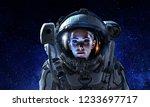 attractive woman in spacesuit | Shutterstock . vector #1233697717