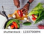 closeup of man hands african... | Shutterstock . vector #1233700894