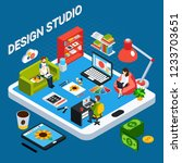 isometric graphic design studio ... | Shutterstock .eps vector #1233703651