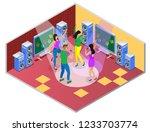 karaoke isometric composition...   Shutterstock .eps vector #1233703774