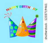 set of birthday party hat... | Shutterstock .eps vector #1233719461