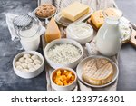 dairy products.  milk  cheese ... | Shutterstock . vector #1233726301