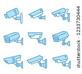 security camera flat line icons.... | Shutterstock .eps vector #1233730444