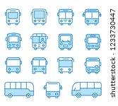 bus flat line icons. editable... | Shutterstock .eps vector #1233730447