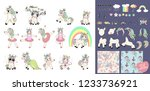 Stock vector big set with unicorns and unicorn parts for design set of cute cartoon unicorn ballerina with 1233736921