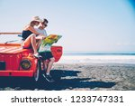 couple in love searching route... | Shutterstock . vector #1233747331