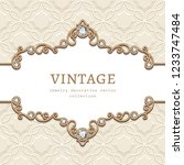 vintage vector frame with... | Shutterstock .eps vector #1233747484