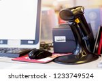 price scanners on the cashier... | Shutterstock . vector #1233749524