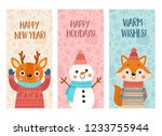 set of cute christmas cards... | Shutterstock .eps vector #1233755944