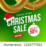 christmas sale banner with gold ... | Shutterstock .eps vector #1233777031