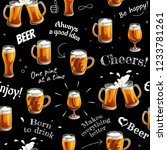 seamless pattern with beer...   Shutterstock .eps vector #1233781261