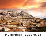 hike in norway mountains | Shutterstock . vector #123378715