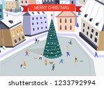 merry christmas people walking... | Shutterstock .eps vector #1233792994
