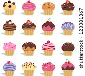 cupcakes and muffins different... | Shutterstock .eps vector #123381367