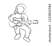 stronaut plays guitar without... | Shutterstock .eps vector #1233842584