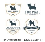 set of vector dog logo on white ... | Shutterstock .eps vector #1233861847