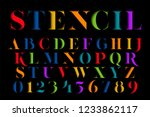 colorful stencil letters set.... | Shutterstock .eps vector #1233862117