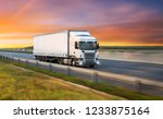 truck with container on highway ... | Shutterstock . vector #1233875164