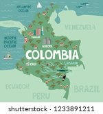 illustration map of colombia... | Shutterstock .eps vector #1233891211