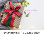 gift box with merry christmas... | Shutterstock . vector #1233894004