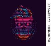 neon hipster skull in marine... | Shutterstock .eps vector #1233899134