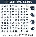100 autumn universal icons set...   Shutterstock .eps vector #1233903664