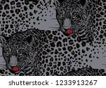 leopards. seamless pattern with ... | Shutterstock .eps vector #1233913267