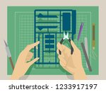 illustration of hands holding a ... | Shutterstock .eps vector #1233917197