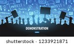 silhouettes crowd of people... | Shutterstock .eps vector #1233921871