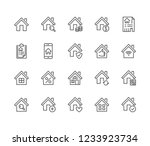 real estate flat line icons set.... | Shutterstock .eps vector #1233923734