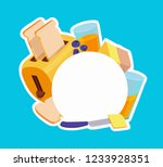 composition with toaster  bread ... | Shutterstock .eps vector #1233928351