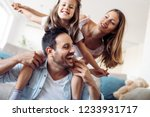 happy family having fun time at ... | Shutterstock . vector #1233931717