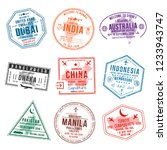 set of travel visa stamps for... | Shutterstock .eps vector #1233943747
