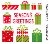 seasons greeting. gifts on... | Shutterstock .eps vector #1233943987