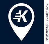 letter k and map pin. logo...