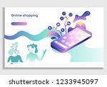 online stores  app isometric... | Shutterstock .eps vector #1233945097