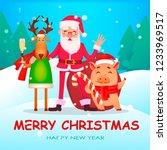 christmas greeting card. funny... | Shutterstock .eps vector #1233969517