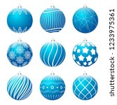 set of blue realistic christmas ... | Shutterstock .eps vector #1233975361