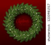 green spruce wreath on a red... | Shutterstock .eps vector #1233981517