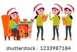 girl schoolgirl kid poses set... | Shutterstock .eps vector #1233987184