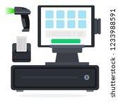 cash register equipment flat...   Shutterstock .eps vector #1233988591