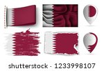 set of qatar flags collection... | Shutterstock .eps vector #1233998107