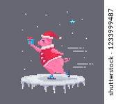 pixel art pig skates with a... | Shutterstock .eps vector #1233999487