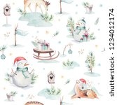 seamless watercolor merry... | Shutterstock . vector #1234012174