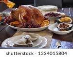 delicious golden roasted... | Shutterstock . vector #1234015804